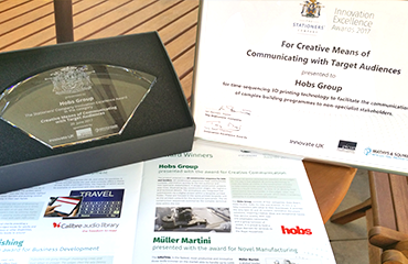 Hobs Group achieve 'Innovation Excellence award' for incorporating 4D construction sequences into printed bid submissions.